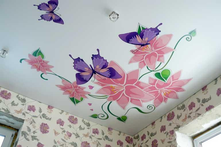 натяжные потолки с рисунком цена